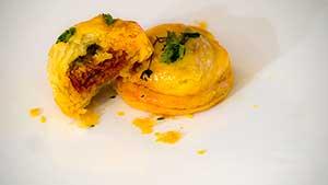 chorizo and parmesan puff pastry bites