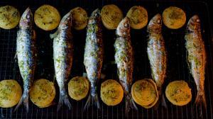 broiled sardines with lemon & herbs aromatic salt