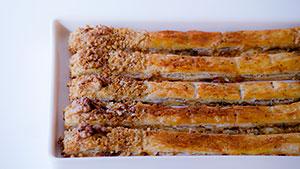 roquefort and walnut puffed strips