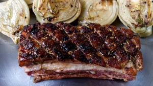 crispy roasted pork belly with cider & fennel