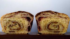 peanut butter & strawberry jam swirl bread