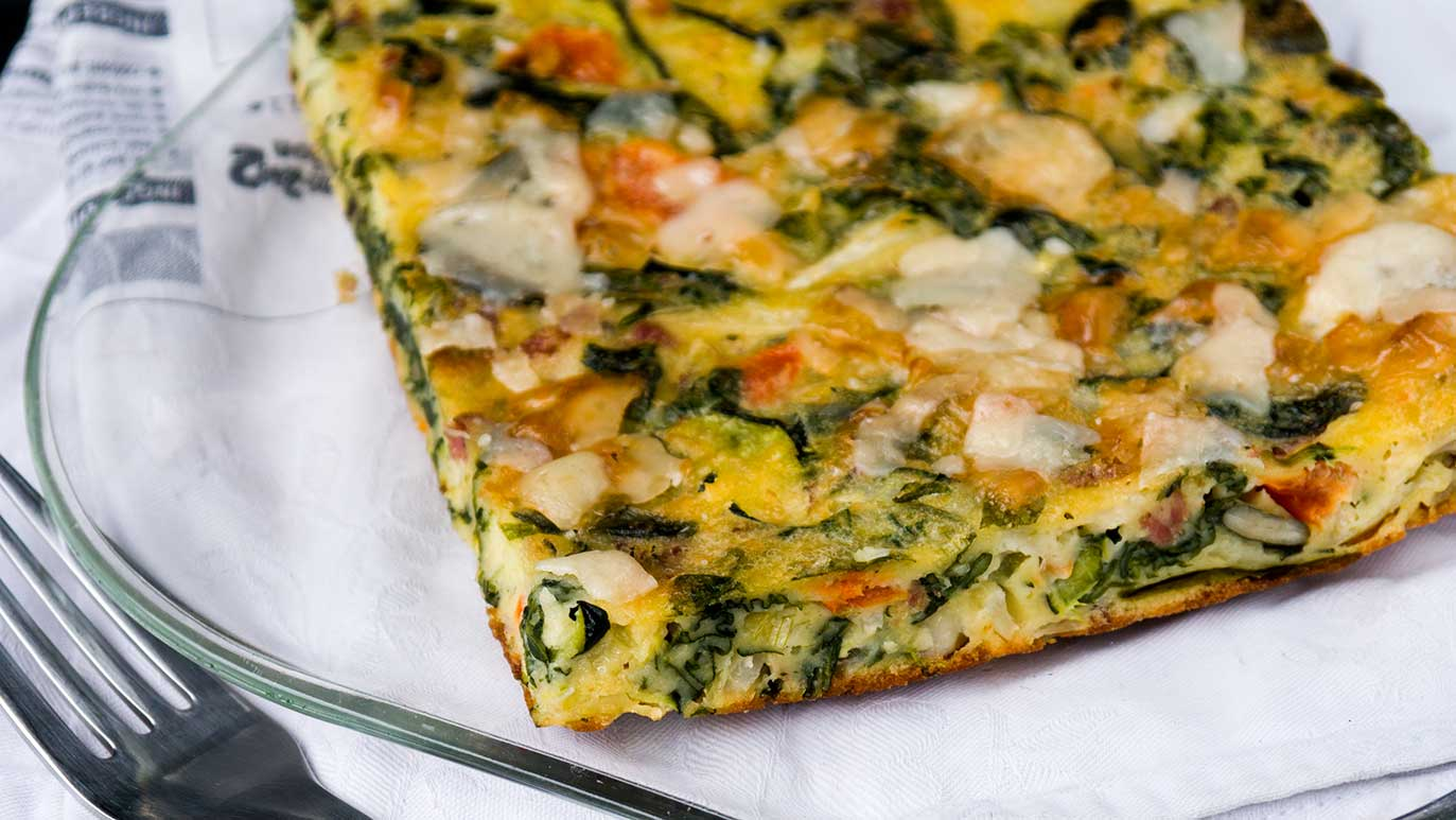how to use leftovers in a batter : thin savory crustless tart