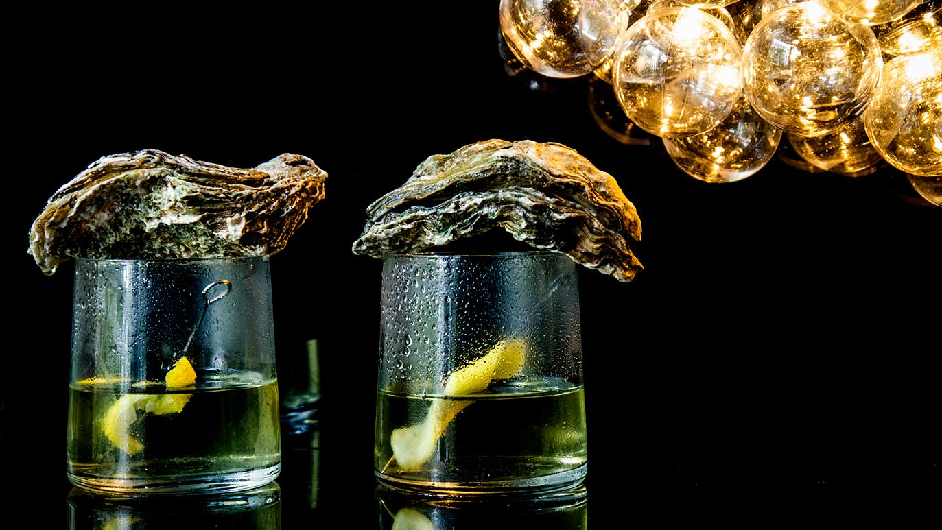 oyster & seaweed vodka martini