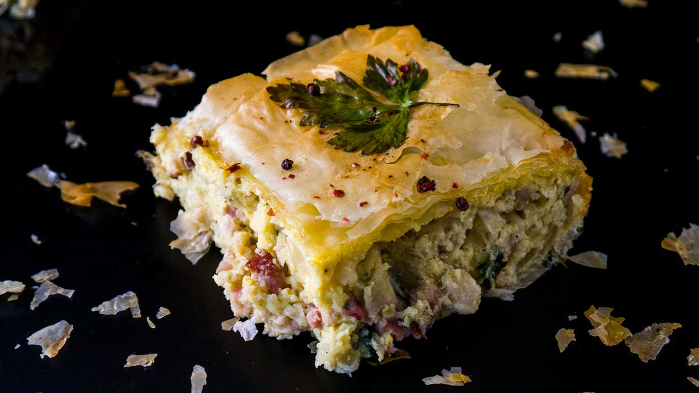 tarte filo au bacon & oeuf & fromage