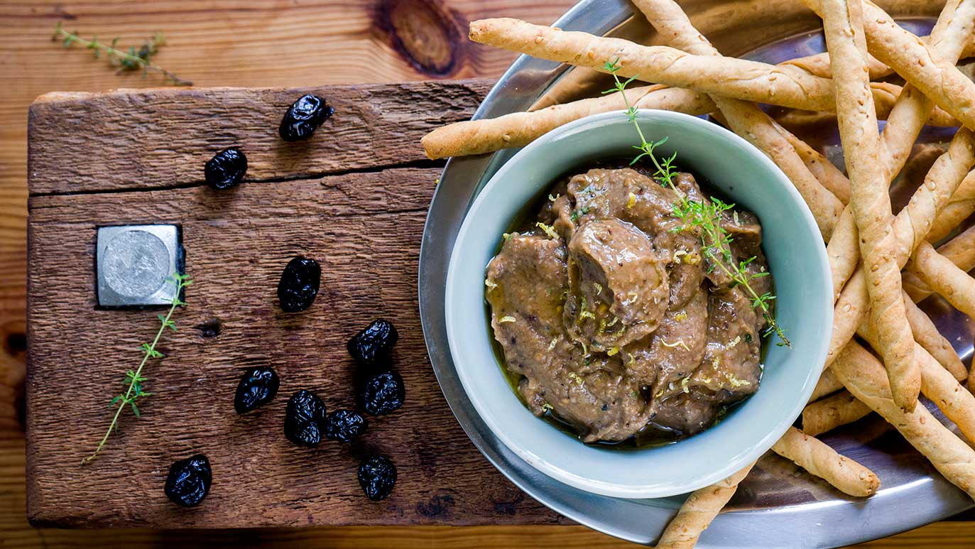 smoky roasted eggplant & black olive dip