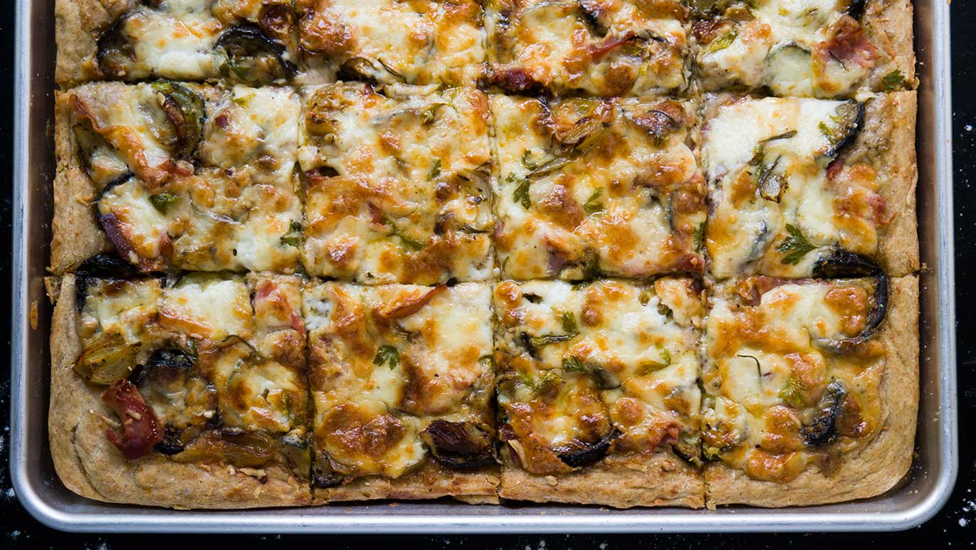roasted eggplant & zucchini pizza with béchamel sauce