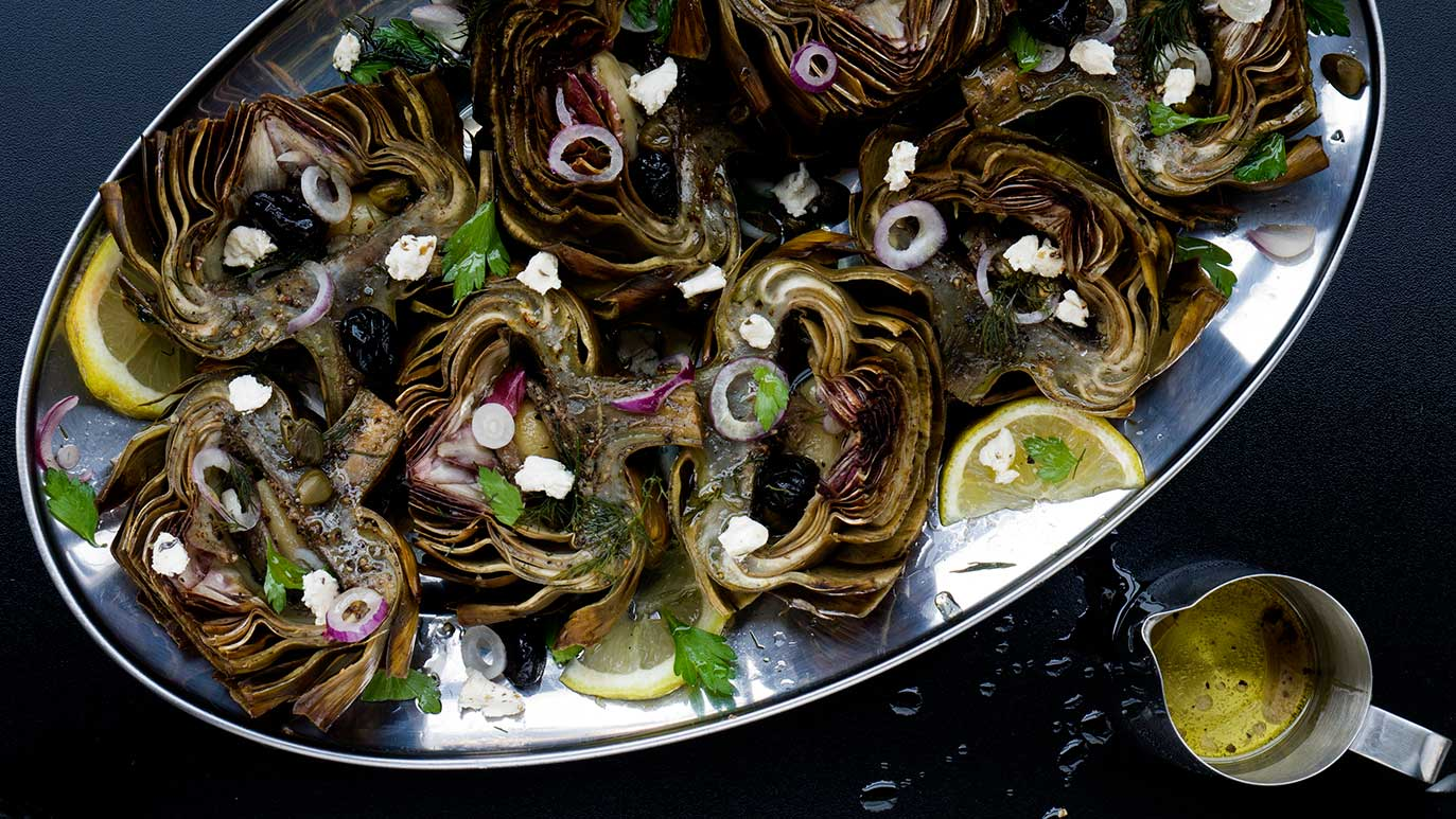 'briny' anchovy, garlic & lemon roasted artichokes