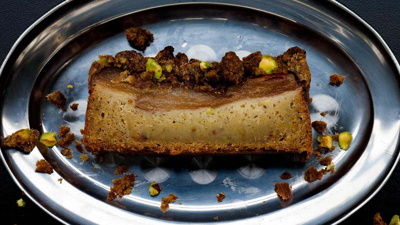 pear & pistachio & cardamom 'crumb cake'