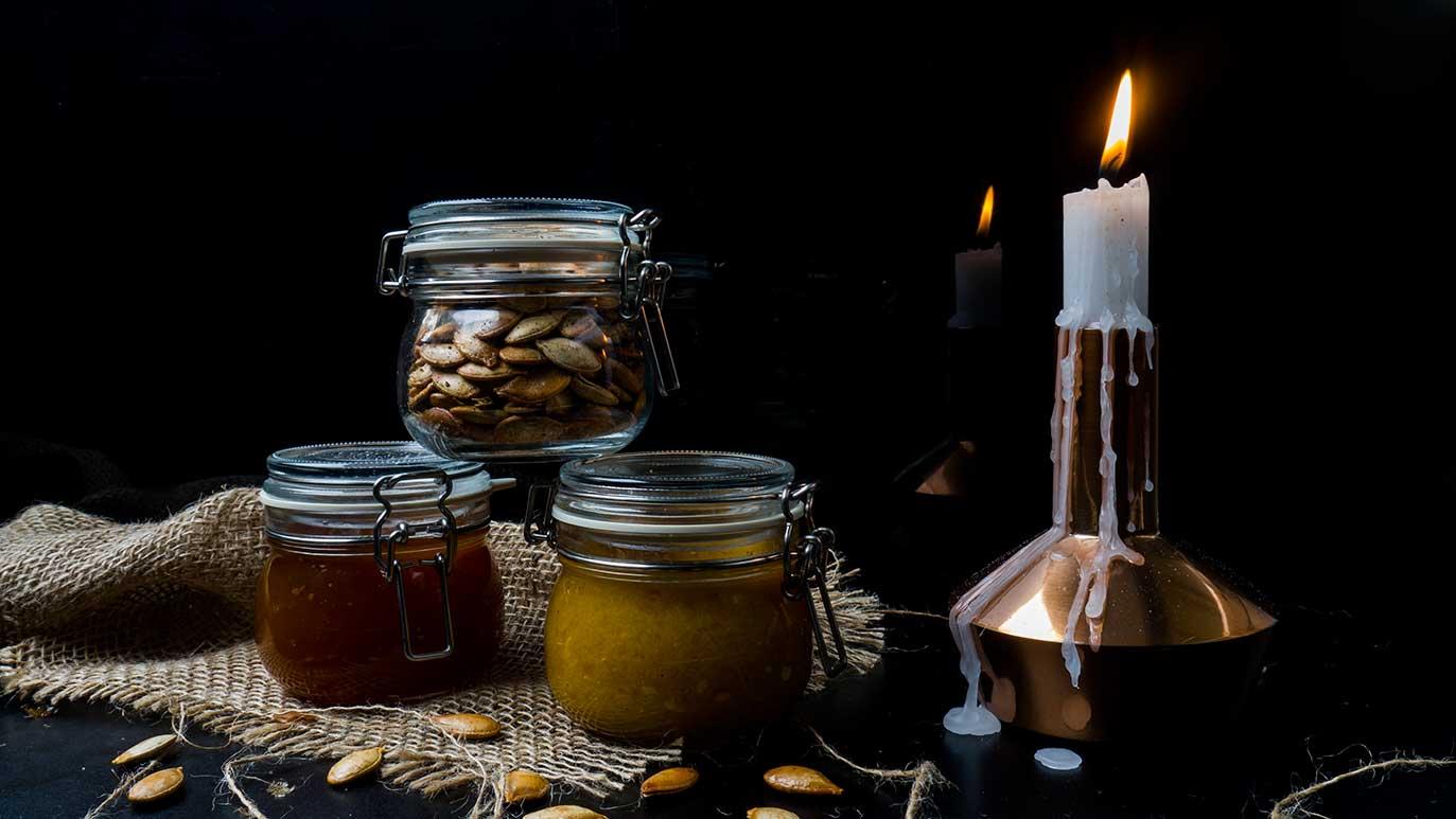 confiture de citrouille & beurre de citrouille & graines de citrouille grillées fumées