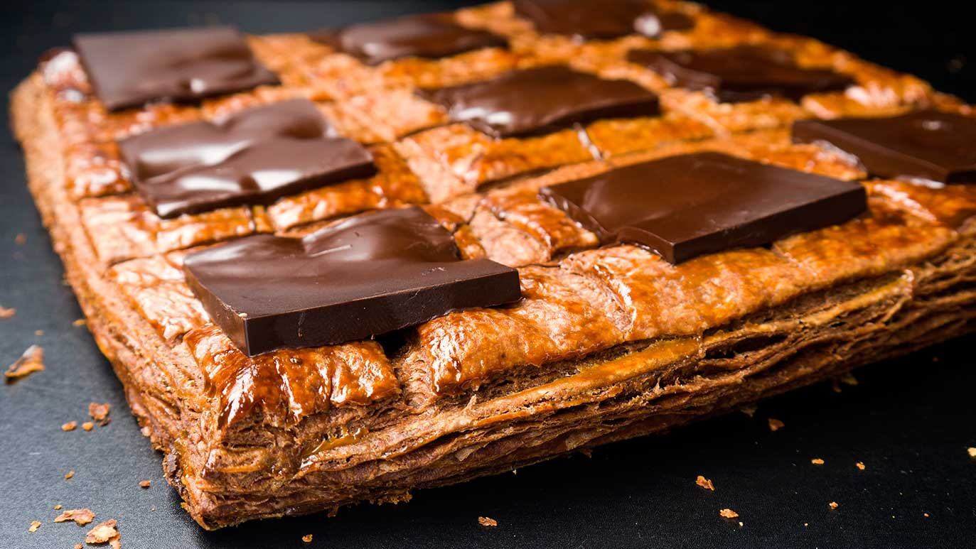 'brownie galette des rois' with cocoa, coffee, chocolate, hazelnuts & chestnuts