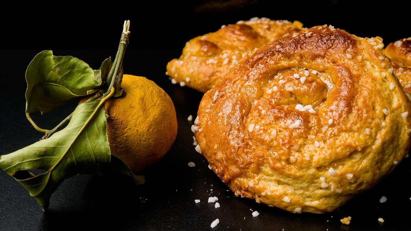 bitter orange & dulce de leche 'tsoureki' bread rolls