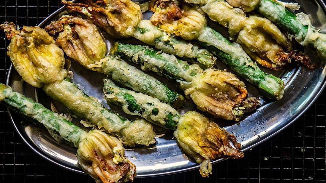 stuffed & fried zucchini flowers
