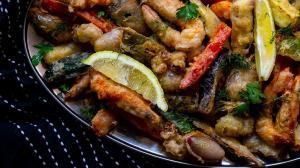 ouzo-flavored tempura seafood & vegetables