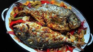 roasted sea bream with citrus & allium & capsicum