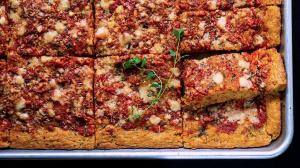 picnic focaccia with tomato-water dough & the 'freshest hand-crushed & no-cook heirloom tomato sauce' topping