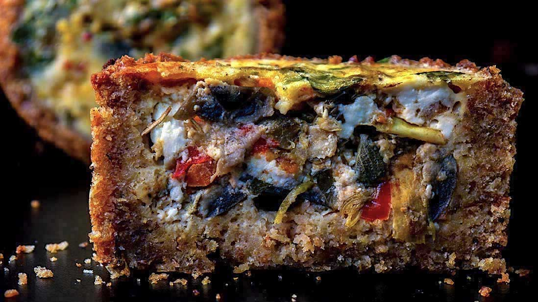 chunky vegetable & feta quiche with the incredible 2-ingredient breadcrumb & mayonnaise crust