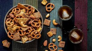 'in-between-holidays' salty & spicy snack mix
