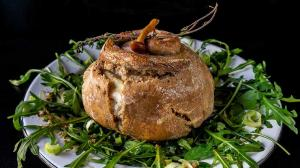 bread-crusted & mushroom-stuffed oven-baked camembert