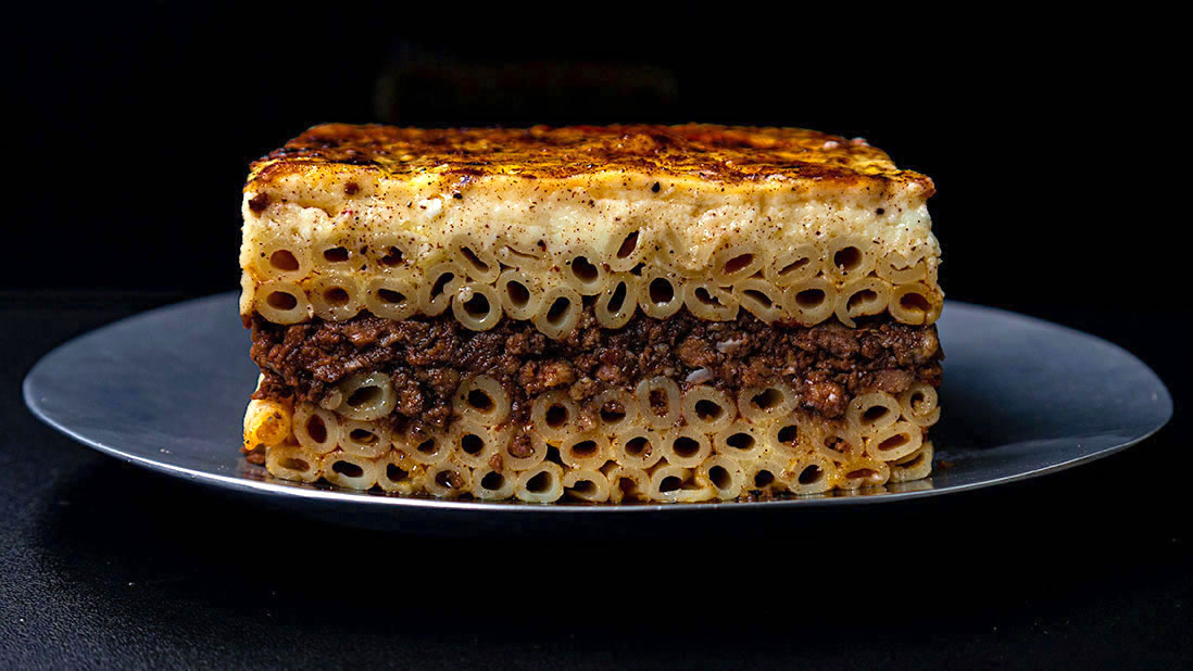 3-meat & spicy «pastisio» greek pasta bake (with cinnamon, allspice, clove & nutmeg)