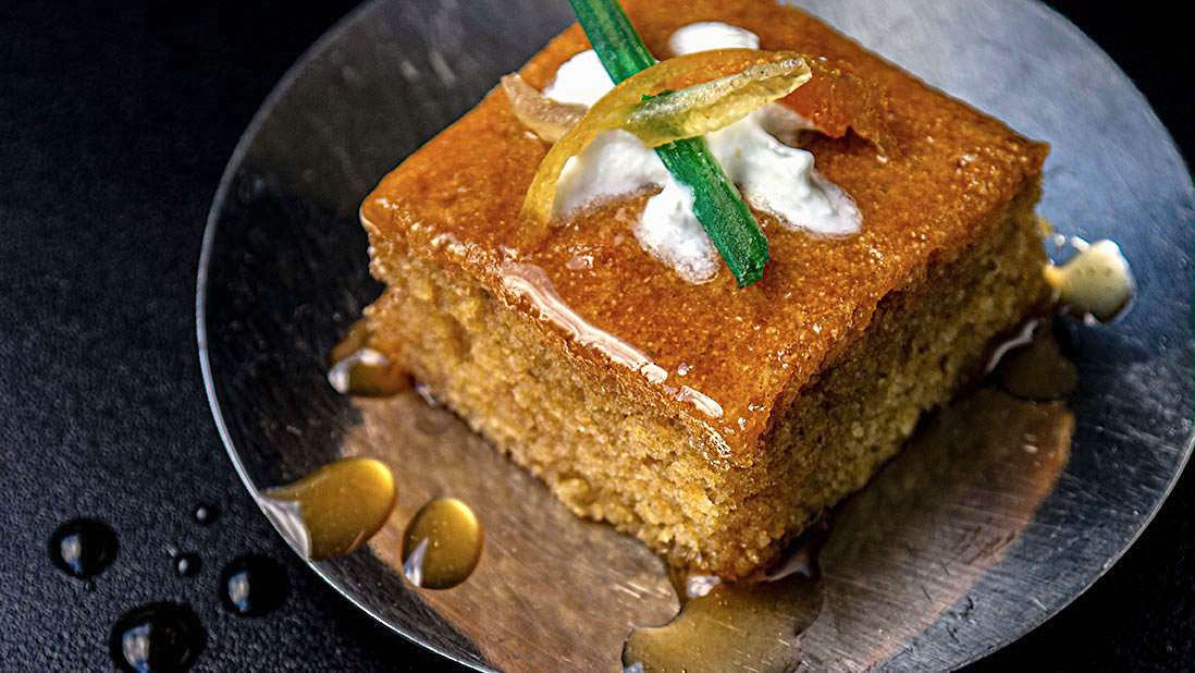 «ravani» lime & geranium & mastic syrup-soaked semolina cake
