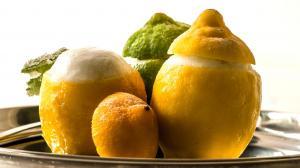 sorbet au géranium, citron jaune et vert