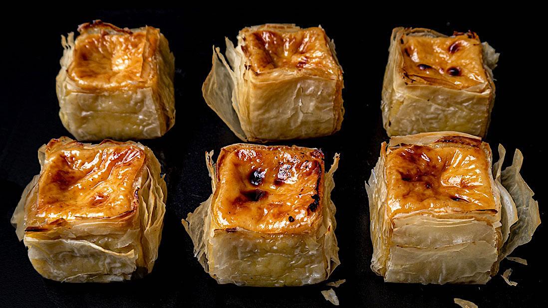 gently-baked & delicately-spiced custard & filo breakfast tartlets