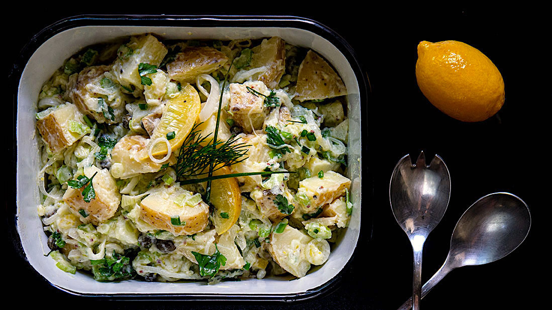 chilled & tangy potato salad with preserved lemon & yogurt dressing