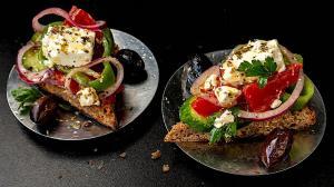 """rustic greek """"choriatiki"""" salad slices on flatbread rusks"""