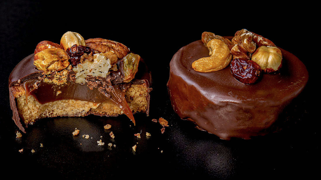 chocolate-coated & caramel-filled & dried fruits-topped «billionnaire» shortbreads