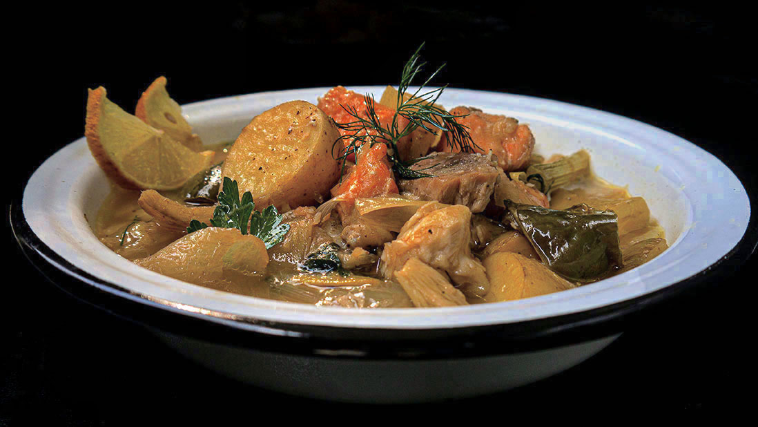 "autumnal greek-style ""psarosoupa"" light fish & vegetable stew"