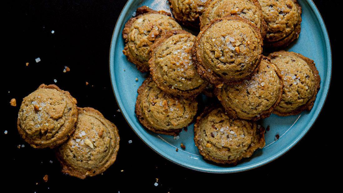 salty-sweet peanut butter & sesame tahini cookies