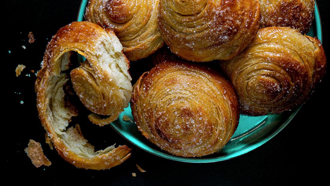 sugar & orange blossom syrup glazed puff-pastry flaky brioches