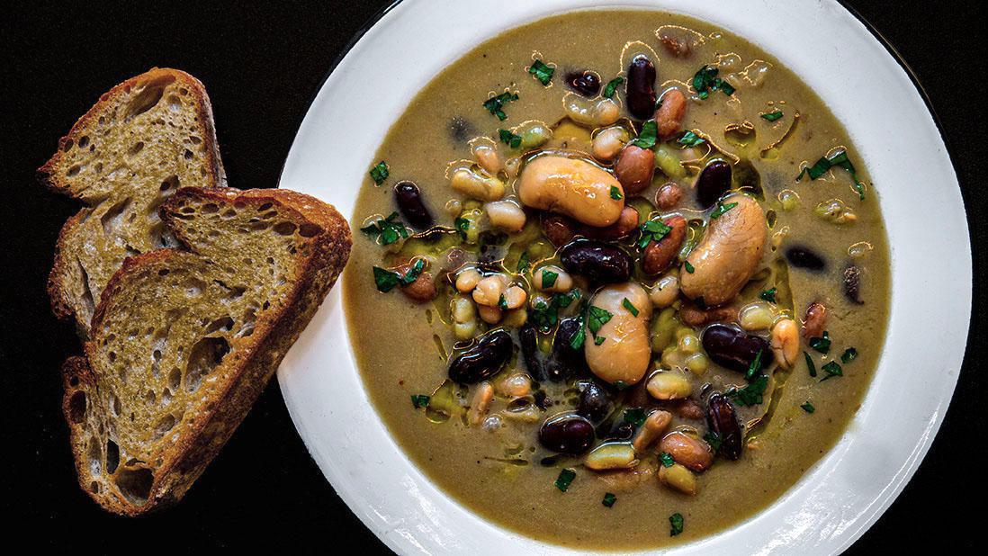 creamy 5-bean & 5-vegetable soup