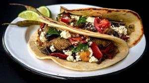 roasted vegetable tacos with refried chickpea purée & crumbled feta cheese