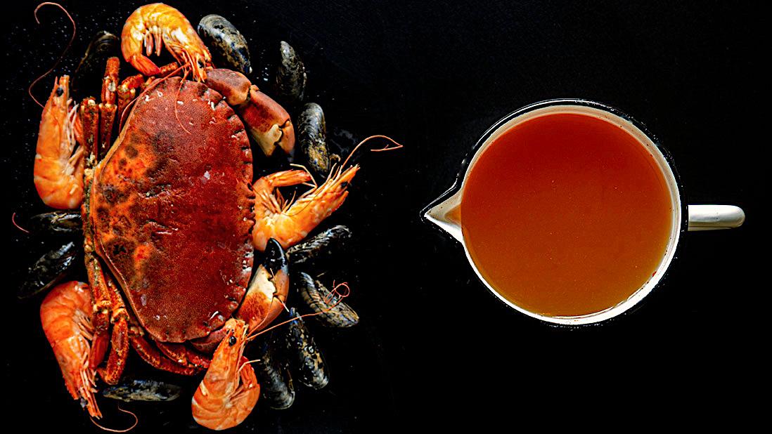 fumet de fruits de mer (avec mollusques & crustacés)
