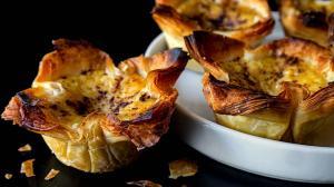 crispy filo & creamy egg custard tartlets