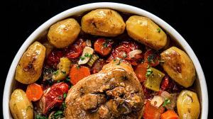 turkey shanks «osso buco» with cherry tomatoes & baby potatoes