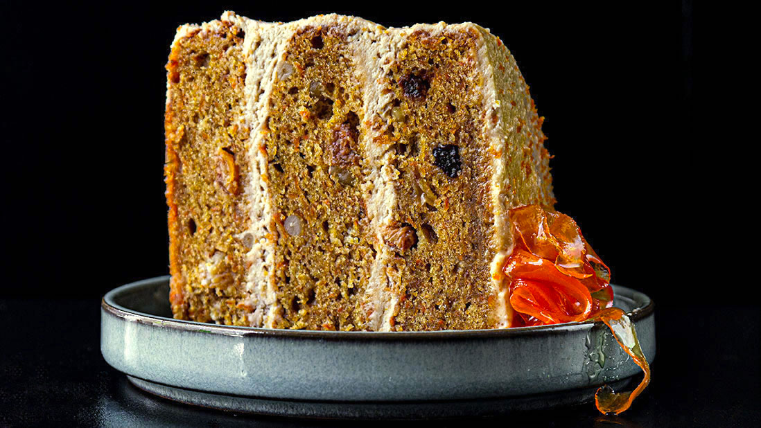 carrot & clementine cake with cream cheese frosting & candied carrot ribbons