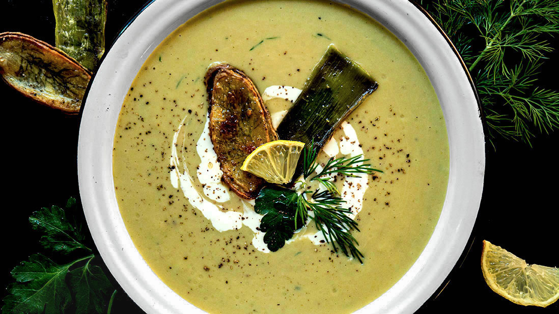 cream of leek & potato soup (with lemon & dill & herb chips)
