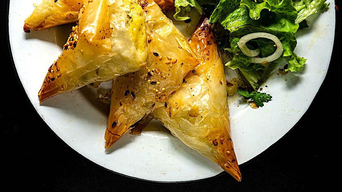 «tiropitakia» filo triangles with feta cheese & eggs