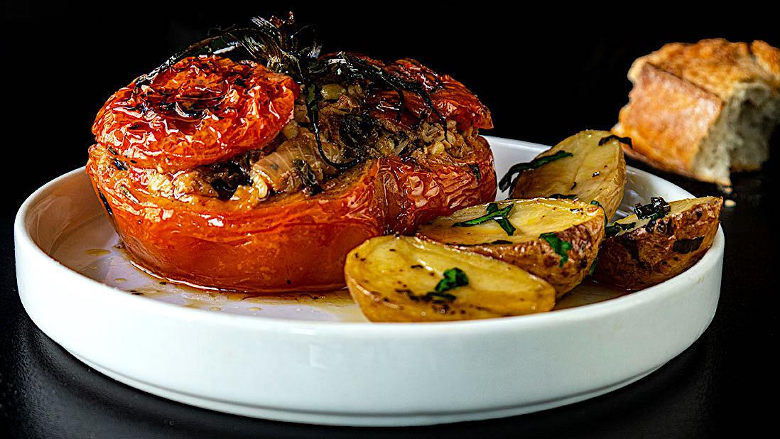 stuffed & baked tomatoes with tuna & fennel & bulgur