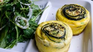 rolled zucchini and feta omelette bites